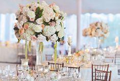 White %26 Peach Reception Centerpiece    Photography: Carasco Photography   Read…