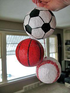 sports ornaments using styrofoam balls and paint