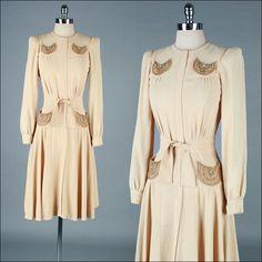 Vintage 1940s Dress . Ivory Rayon . Metal Studs .