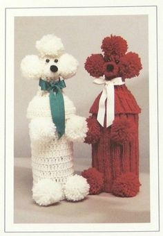 Poodle Bottle Covers to KNIT / CROCHET - Pattern Leaflet of Jao Enterprises - The Pooch That Hides The Hooch - Available In PDF File Format. $4.99, via Etsy.