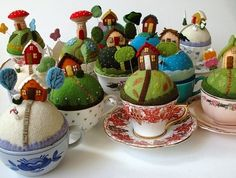 little village in tea cups/pincushions by esther/Darling!!!!!