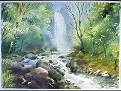 Watercolor Landscape Painting : The Forest Stream 02 - YouTube