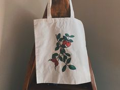Botanical Cotton Tote Bag Rosehip Illustration on Cotton Canvas Market Tote Bag | Reusable Shopping Bags, Reusable Bags, Laptop Bag For Women, Market Bag, Cotton Tote Bags, Cotton Canvas, Gifts For Her, Backpacks, Illustration