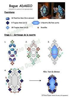 Flood of Paris - Diagrams Diy Jewelry Rings, Seed Bead Jewelry, Beaded Rings, Jewelry Making Tutorials, Beading Tutorials, Beading Patterns, Ring Tutorial, Beaded Jewelry Designs, Beads And Wire