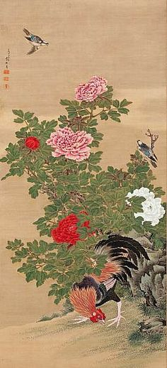 Rooster, Minivets and Peonies by Ganku