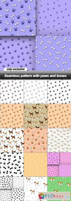Seamless pattern with paws and bones - 16 EPS