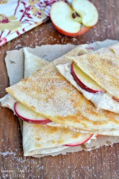 Apple Cheesecake Breakfast Quesadillas, Cheesecake filling, paired with apples and stuffed inside a flour tortilla, Use a reasonable amt of sugar and light cream cheese Breakfast Dishes, Breakfast Recipes, Eat Breakfast, Breakfast Ideas, Apple Breakfast, Brunch Recipes, Dessert Recipes, Desserts, Crepes
