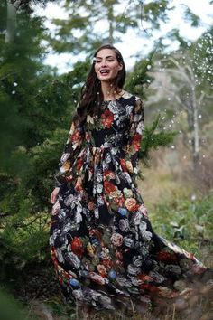 Winter Bouquet Maxi Dress   ...lovely floral print colourful boho fashion for winter or early spring....