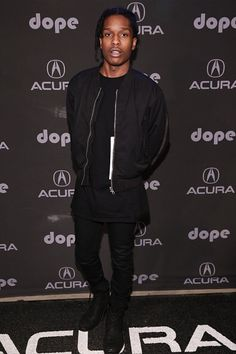 ASAP Rocky All Black Outfit with Black Bomber