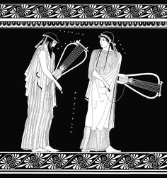 Sappho_Alcaeus_Attic krater painted by the Brygos painter, 480-470 BCE. Line drawing by Valerie Woelfel.