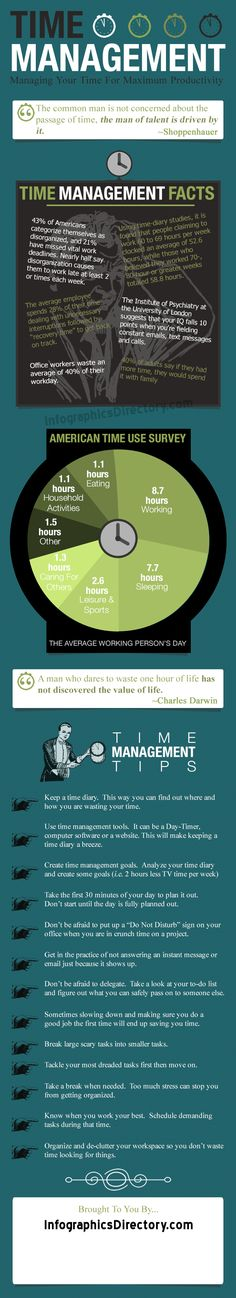 Infographics – Time Management Tips And Facts  | Managing Your Time For Maximum Productivity - InfographicsDirectory.com