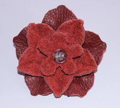 Haarspangen - Haarspange, Leder, Lederblume - ein Designerstück von ansche75 bei DaWanda