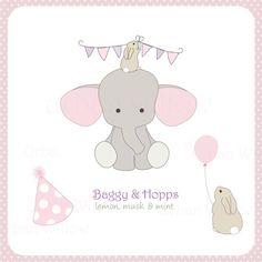 Elefante y conejo Clipart elefante con globo cumpleaños
