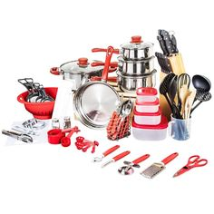 Veica,Highly Durable,80 Piece Stainless-Steel Cookware Set,Kitchen Gadgets,Red >>> Check out this great product.