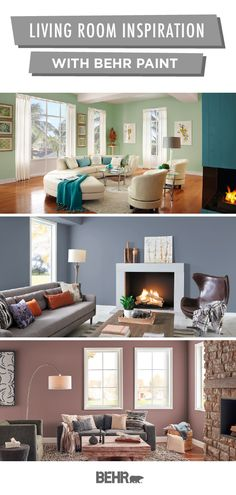 Whatever your home decor style, Behr Paint has plenty of inspiration for your next DIY living room makeover. Start with a new coat of paint on the walls. Then, add fun accents like throw pillows, rugs, or wall art. Click below to explore by moods, styles, and color palettes.