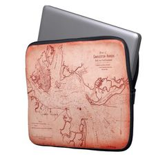 """Old map of Charleston Harbor, South Carolina, as it appeared early in 1861 -- on the very eve of the Civil War. Compiled by Elliott & Ames, its original was engraved for publication in Boston by the lithographer Charles D. Andrews.  This modern version in a """"Vintage Red"""" tone will provide a unique and distinctive laptop sleeve for any lover of Civil War or military history. site stats"""