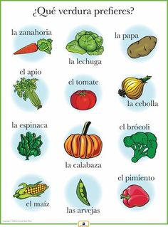 learning spanish Introduce vegetables with this colorful 18 x 24 in. poster that includes a free guide with teaching suggestions and practice worksheets. Spanish Lessons For Kids, Italian Lessons, Spanish Basics, French Lessons, Preschool Spanish, French Class, Italian Vocabulary, Spanish Vocabulary, Spanish Language Learning