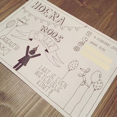 Verjaardag Diy Invitations, Birthday Invitations, 9th Birthday, Doodle Drawings, Diy For Kids, Doodles, Bullet Journal, Letters, Cards