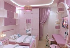 women bedroom interior design trends and wall decoration ideas 2019 Pink Bedroom Decor, Pink Bedrooms, Teen Room Decor, Kids Bedroom Designs, Kids Room Design, Bedroom Ideas, Lounge Design, Woman Bedroom, Awesome Bedrooms