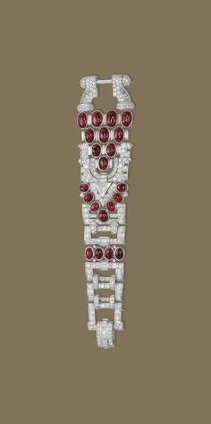 art deco ruby diamond bracelet 1930s