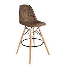 ModHaus Mid Century Modern Eames DSW Style Brown Woven Counter Stool with Dowel Wood Base