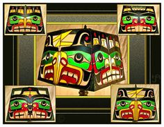Four Worlds Native American Northwest Coast Native stained glass lamp