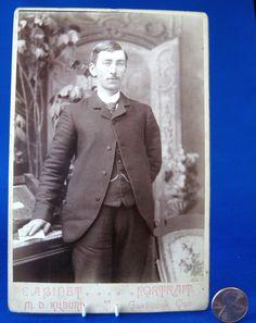 Cabinet Card Photo Quebec City Gent Horseshoe Tie Tac Victorian 1880s Dapper Gent by RuthsBargains
