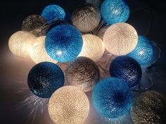 Cotton ball string lights for home decor,party decor,wedding patio,20 pieces indoor string lights bedroom fairy lights,blue,white,light blue...