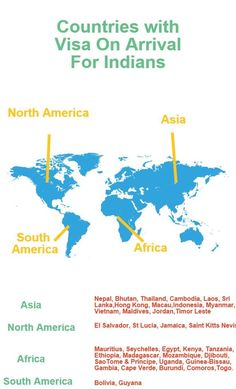 Know about countries which offer visa on arrivals for Indians.