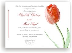 Printable Wedding invitation template red tulip flower motif by Oxee , DIY editable in Word, $8.00