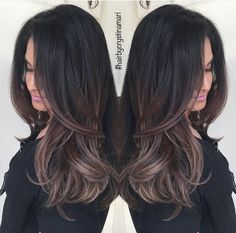 dark brown hair with ash brown balayage