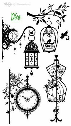 Illustrations for painting ideas, lamps, birdcage and tree clock and more. Stamp-deco is creative inspiration for us. Get more photo about home decor. Silhouette Tattoos, Silhouette Portrait, Stencils, Tree Illustration, Digi Stamps, Creative Inspiration, Line Art, Silhouettes, Paper Art