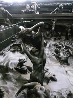 "Detail of ""La Porte de l'Enfer"" (""The Gates of Hell"", 1880-1917), by Auguste Rodin. Depicts a scene from ""The Inferno"", the first section of Dante's ""Divina Comedia"". 6 metres high, 4 metres wide and 1 metre deep, and containing 180 figures."