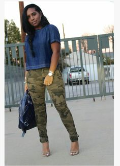 We've gathered our favorite ideas for Denim Top With Camouflage Pants Major Must Haves Cute, Explore our list of popular images of Denim Top With Camouflage Pants Major Must Haves Cute. Camouflage Fashion, Camouflage Pants, Camo Fashion, Fashion Outfits, Cheap Fashion, Fashion Women, Fashion Pants, Fashion Tips, Camo Outfits