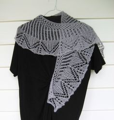 soft grey lace knit wool shawl with silver colored beads by DutchDaisyDesign on Etsy