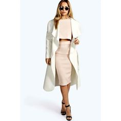 Boohoo Kate Belted Shawl Collar Coat (1,665 INR) ❤ liked on Polyvore featuring outerwear, coats, rain coat, belted raincoat, belted puffer coat, puff coat and longline coat