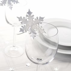 Silver Snowflake Place Card For Glass - Christmas Table - Decorations - Christmas