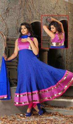 Royal Blue Cotton Anarkali Suit with Lace Work Price: Usa Dollar $104, British UK Pound £61, Euro77, Canada CA$113 , Indian Rs5616.