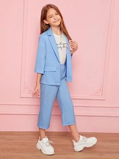 Girls Notch Collar Blazer And Pants Set – Kidenhouse Teenage Girl Outfits, Girls Fashion Clothes, Cute Girl Outfits, Kids Outfits Girls, Tween Fashion, Teen Fashion Outfits, Cute Casual Outfits, Girl Fashion, Girls Dresses Online