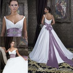 2014 Fashion Satin Off-shoulder V-neck Bridal Dress Crystal Beaded Bow Sash Purple And White A-line Court Train Wedding Dress DL1310047