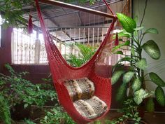 Red Sitting Hammock, Hanging Chair Natural Cotton and Wood. $39.00, via Etsy. I wish I had a jungle room.