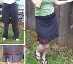 How to turn an old, ugly pair of trousers into a cute skirt. Clever. I could do this with all my trousers that are way too short! :) by rucifey