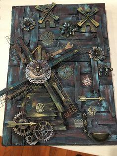 Chat Steampunk, Style Steampunk, Mix Media, Mixed Media Art, Scrap Metal Art, Work Inspiration, Steam Punk, Mosaic Art, Time Travel