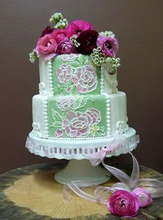 bridal shower embroidered cake