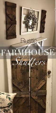 #ad Rustic Farmhouse style wood shutters. Perfect for indoor and outdoor decor. Put on either side of a rustic old window, or picture. I would love it on either side of my indoor windows. Stained wood farmhouse shutters. #farmhouse #rustic #farmhousestyle #farmhousedecor #rusticdecor #shutters #wood #Rusticstyle #homedecor #window #handmade