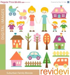Blonde Family Cliparts. Mom, dad, kids, houses, trees, cars.    Cute clip arts for your craft and creative projects.    This is a DIGITAL DOWNLOAD