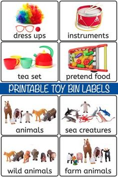28 Printable Toy Bin Labels for Playroom Storage Preschool Center Labels, Preschool Classroom Labels, Daycare Labels, Kids Labels, Free Preschool, Preschool Activities, Classroom Images, Labels Free, Preschool Centers