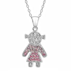 Sterling Silver Pink and White Crystal Girl Pendant with Swarovski Elements