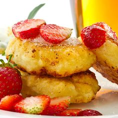 An asolutely mouth water gluten free pancake recipe with fresh strawberry topping.. Fluffy Cottage Cheese Pancakes Recipe from Grandmothers Kitchen.