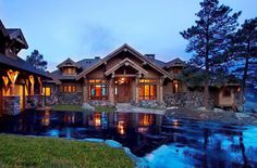 Mountain log and timber frame home designed by TKP Architects PC of Golden Colorado.